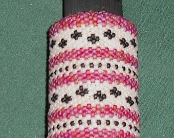 Hand Beaded Small Lotion Bottle Glass Seed Bead Peyote Stitch Flower Stripe Design Beauty Bath Trinket Cosmetic Container Gift Present