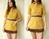 1970's Vintage Retro Safari Workwear Style Button Down Shirt Size XS