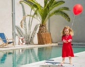 DRESS DAYLIE JERSEY, Red Children's Jersey Sailor Dress With White Stripes, Slim Fit,Three-Quarter Sleeves,Cosy Soft Cotton,Maritime Style