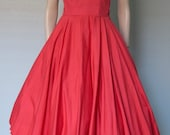 1950s Watermelon Red Strapless Cotton Summer Dress with Lace Trim // Corset Bodice - Full Skirt
