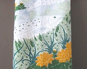 Vintage Fingal Irish Tea towel, Dish Cloth, Linen Towel Salmon