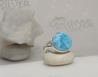 Larimar ring, Moon in the Sea - sea blue Larimar round, Navy blue, moon pattern, round ring, blue moon, volcanic blue, handmade ring  size 7