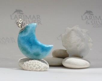 Larimar moon pendant, Tropical Moon - Caribbean blue Larimar crescent, blue moon, sea blue, volcanic blue, peacock blue, handmade pendant