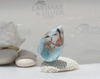 Larimar cabochon from Larimarandsilver, Storm of the Gods - very rare aqua Larimar pear, red copper inclusions, handmade Larimar cab 94.5 ct