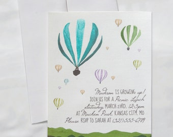 Hot air balloon kids birthday invitation digital growing up whimsical children's birthday party invitations watercolor