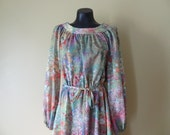 Rainbow Floral Peasant Dress size Large