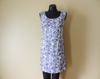Lavender Cocktail Dress with Black Flowers 6 Small