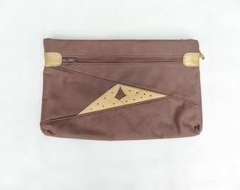 Vintage Clutch Brown Canvas with Leather Accents