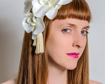 Cream (off-white) orchid cocktail hat with tassels