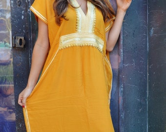February Finds, Trendy Dark Yellow Moroccan Caftan Kaftan Dress -resortwear,loungewear, maxi dresses, birthdays, honeymoon, maternity