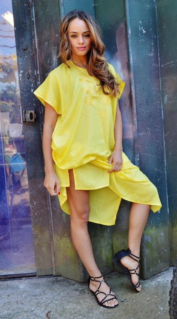 NEW Yellow Resort Caftan Kaftan Style- Madeira Style- loungewear,beachwear, birthday gifts, honeymoon gifts, kaftan, caftan, beach cover ups
