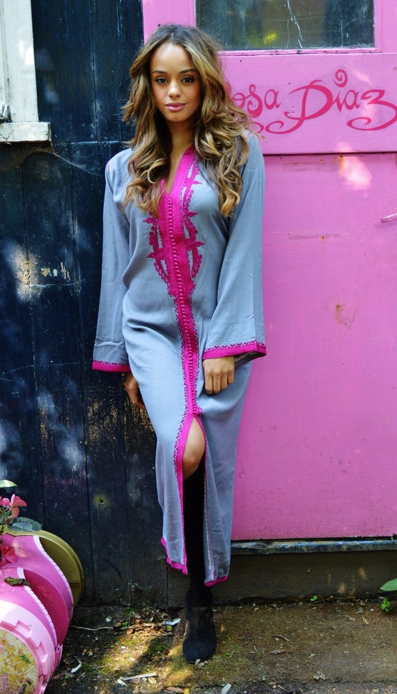 NEW Grey with Fuschia Pink Caftan Kaftan Maxi Dres -Lella  Style -loungewear, as resortwear, great for Eid, Birthdays or Maternity Gifts