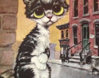 Big Eyed Pity Kitty By Gig 1960s 1970s Cardboard Large! Mid Century Modern Kitsch Art