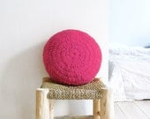 Round Pillow Crochet Wool - by hand dyed in pink