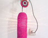 Natural raffia lamp with textile cable, switch and plug - pink