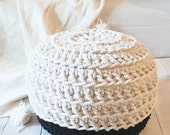 Pouf Crochet - Thick Cotton - Black and White