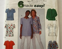 Easy to Sew Misses Scrub Tops Sizes 8 10 12 Simplicity Pattern 8351 UNCUT