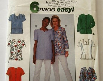 Easy to Sew Scrub Tops UNCUT Simplicity Pattern Sizes 8 10 12