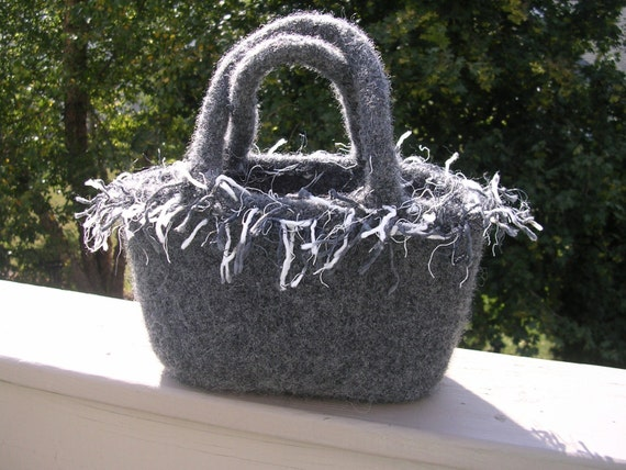 "Gray Felted Wool Tote With Snap , 2 Handles and Frizzle Trim 50 % -"" MAYSALE"" code,"
