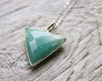 Large Amazonite Necklace, Sterling Silver Necklace