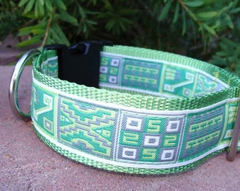 "Sale Large Dog Collar 1.5"" width Quick Release buckle or Martingale collar Symbols - sizes S - XXL"