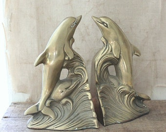 vintage brass dolphin bookends, brass bookends