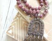 Vintage inspired Ethnic Moroccan replique Floral Arch Amulet Purple Grape color Tourmaline beaded necklace Boho necklace designed by Inali