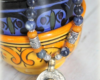 Vintage Kuchi coin Ethnic Moroccan Amulets Blue and Yellow beaded necklace Boho Tribal style Layering necklace  by Inali