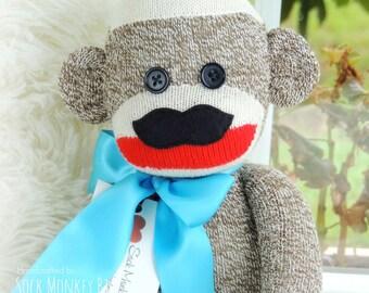 Movember Sock Monkey, Sock Monkey Doll with Mustache