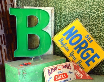 Vintage Marquee Sign Letter Capital 'B': Large Pine Green Wall Hanging Initial -- Industrial Neon Channel Advertising Salvage