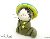 Mushroom Pajama Cat - Clay Cat Figurine with Mushroom Costume