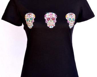 Sugar Skull Dia de los Muertos Black Tee
