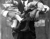 Digital Download, Father Holding Two Children, Vintage Photo,Black & White Photo, Photo Postcard, Found Photo, Vernacular   133215-Ph-6-132
