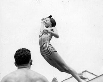 Digital  Download, Acrobatic Girl In The Air on Beach, Vintage Photo, Black & White Photo, Found Photo, Printable   133215-Ph-6-079