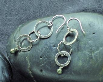 Sterling Three-Ring Earrings