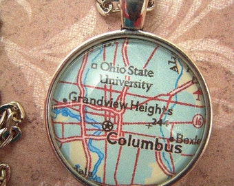 Custom Map Jewelry, Columbus Ohio State University Vintage Map Pendant Necklace, Personalize, Map Cuff Links, Groomsmen Gifts Ideas