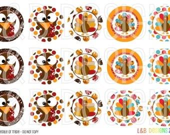 """1"""" Bottle Cap Image Sheet - Cute Turkeys"""