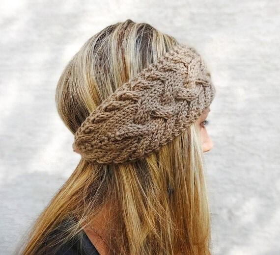 Hand Knit Headband Winter Headband Ear Warmer Button