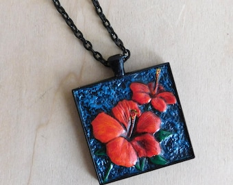 Tooled Leather Hibiscus Pendant in Black - Ready to ship!