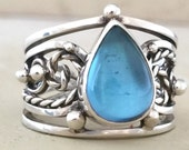 Sterling Silver Blue Topaz one of a kind filigree ring size 8 SALE 20% OFF