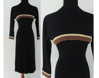 Vintage Forties Dress - 1940s Wool Wiggle Dress - 40s Betse Conn Dress - Black Wool Dress with Knit Trim - XS