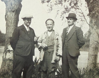 Vintage Photo - Three Men by a Lake