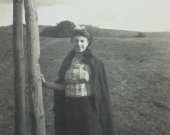 Vintage French Photograph - Woman in Angomont Countryside