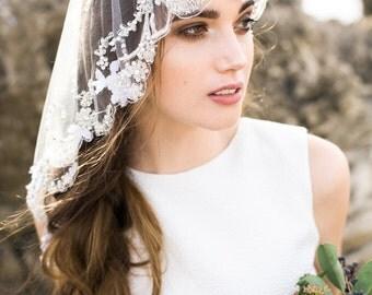 Wedding Veil,Bridal Veil,Tulle Veil,Crystal Veil,Embroidered Veil, Mantilla  Veil, Ivory Heirloom Veil, Beaded Veil - Style 002