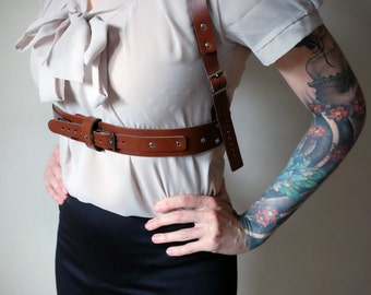 Real Leather Chest Harness - Brown - everyday - burning man - festivals - apocalypse, Please read Description for size