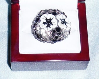 102 TCW Enamel, Black Sapphires, Black & White CZ's, 18kt white gold on Sterling Ring Size 8 1/2