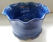 Deep Blue Hand thrown Scalloped Ceramic Planter and Plate
