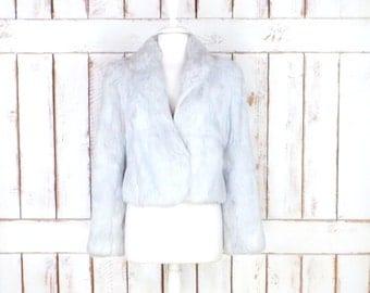 Vintage cropped rabbit fur jacket/silver/light grey fur coat/bridal/wedding fur coat