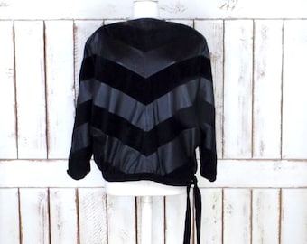 80s vintage black suede leather chevron print button pullover top/suede leather Dolman sleeve blouse jacket/large/xlarge