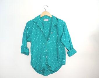 Vintage Women's Diversity Sport Teal & Polka Dot Button Down Shirt // Size MEDIUM